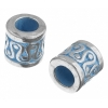 Metal Bead Fancy Cylinder 2 Tone Silver/Turquoise 8X8mm